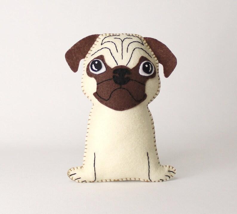Pug Sewing Pattern Dutch Bulldog Felt Hand Sewing Pattern image 0