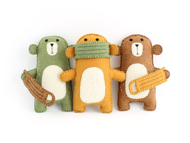 Sewing Pattern for Bear with Removable Mask Hand Stitching image 0