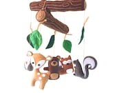 Woodland Mobile Sewing Pattern, DIY Woodland Nursery Mobile, Hand Sew Felt Crib Mobile, Woodland Forest Baby Mobile, Nursery Decor PDF SVG