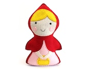 Little Red Riding Hood Sewing Pattern, Stuffed Doll Hand Sewing, Fairy Tale Character, Sew a Felt Pattern, Instant Download PDF SVG