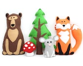 Woodland Stuffed Animal Patterns, Easy Hand Sewing Patterns for Felt Forest Animals, Fox, Bear, Mouse, Pine Tree, & Mushroom, PDF SVG DXF