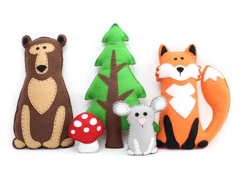 Woodland Stuffed Animal Patterns Easy Hand Sewing Patterns image 0