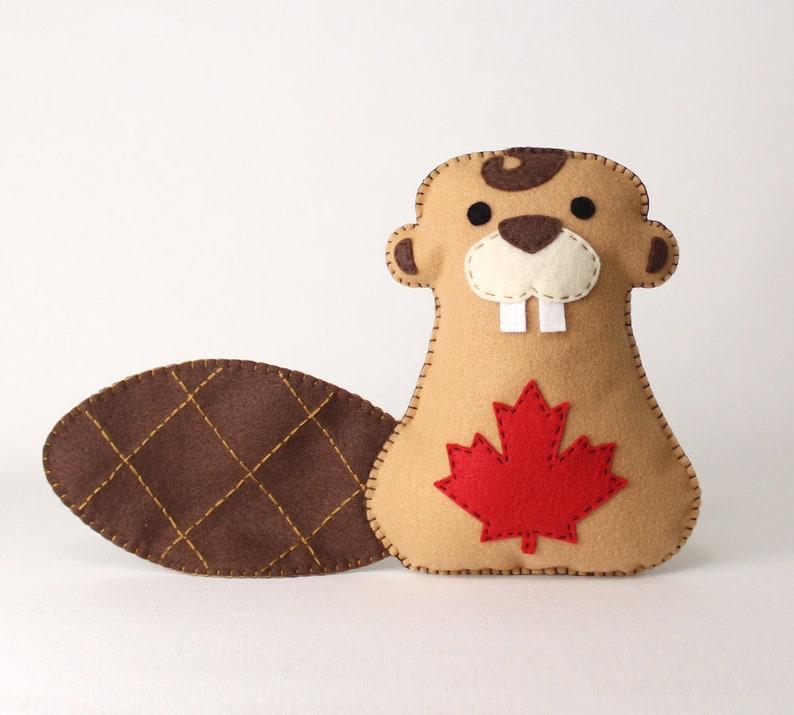 Beaver Sewing Pattern Hand Sewing Felt Canadian Beaver Plush image 0