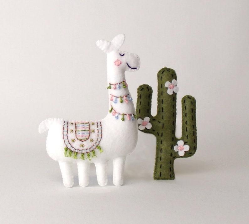 Llama and Cactus Sewing Pattern Embroidered Felt Cactus Llama image 0