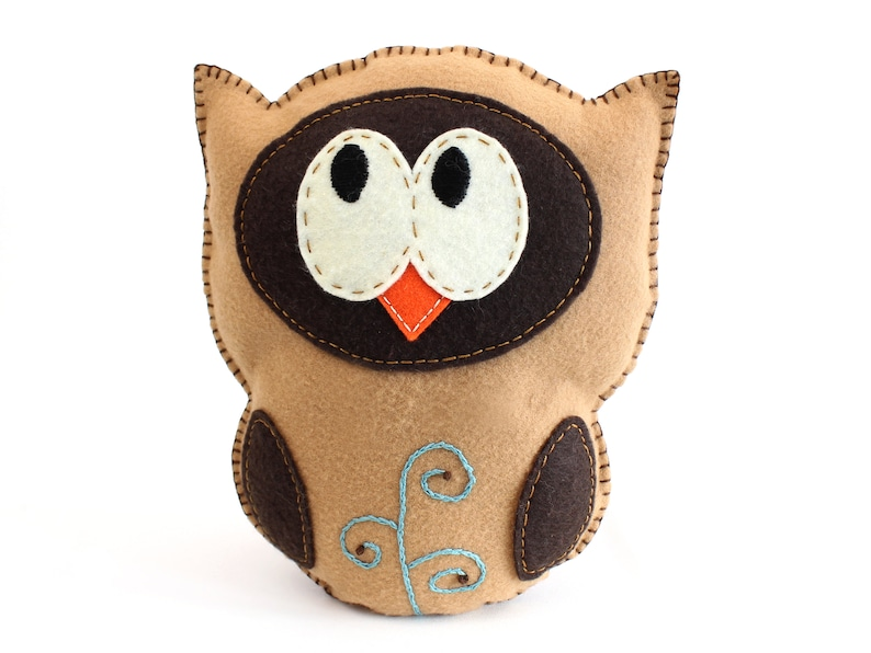 Stuffed Owl Sewing Pattern Felt Owl Plush Softie Woodland image 0