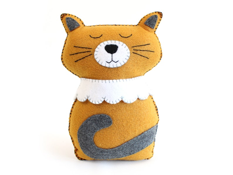 Cat Sewing Pattern Felt Cat Easy Hand Sewing Pattern for image 0