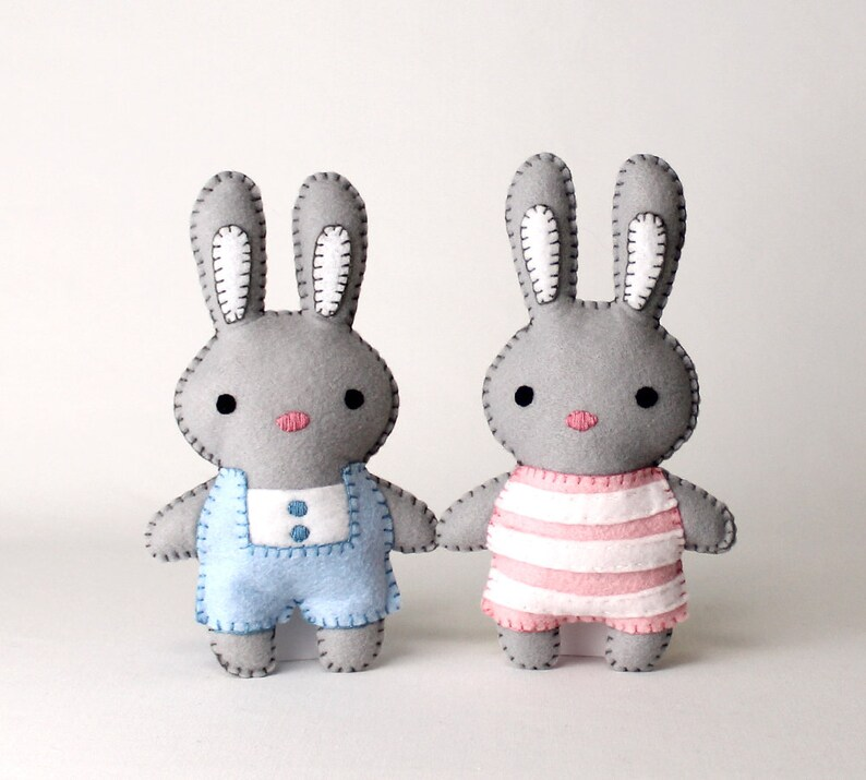 Bunny Rabbit Sewing Pattern Felt Bunnies Sew Your Own Plush image 0