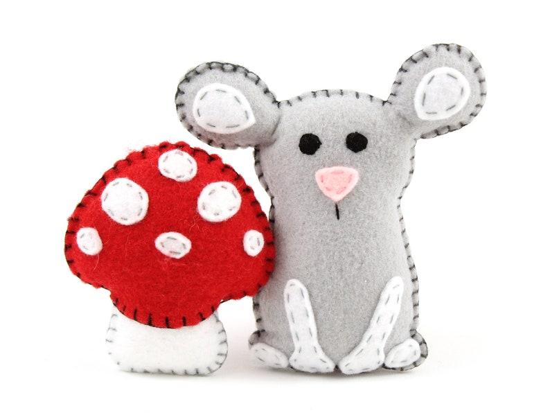 Mouse Sewing Pattern Felt Stuffed Mouse & Mushroom Plushie image 0