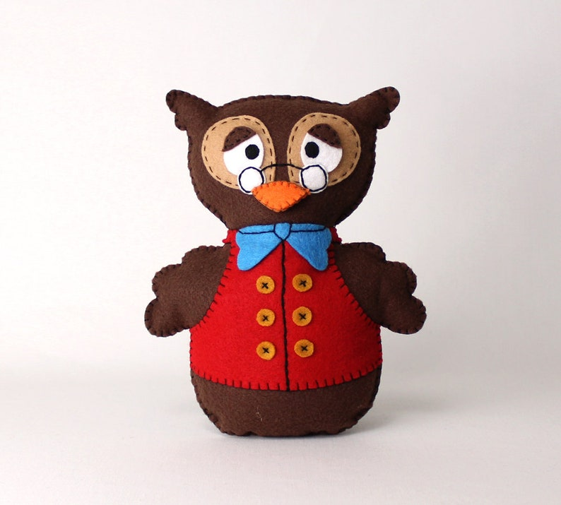 Felt Sewing Pattern for Owl Woodland Owl Hand Sewing Pattern image 0