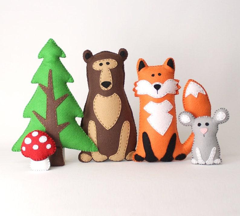 Woodland Stuffed Animal Patterns Easy Hand Sewing Patterns image 0