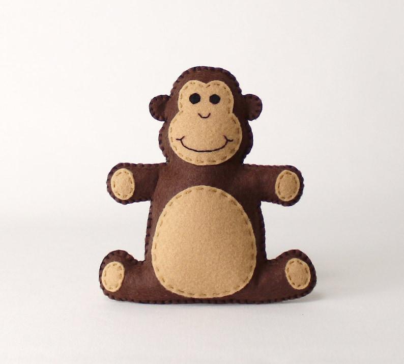 Monkey Sewing Pattern Stuffed Felt Monkey Hand Sewing image 0