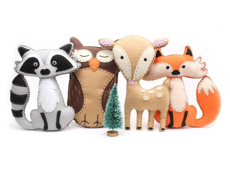 Woodland Stuffed Animal Sewing Patterns Fox Owl Deer & image 0