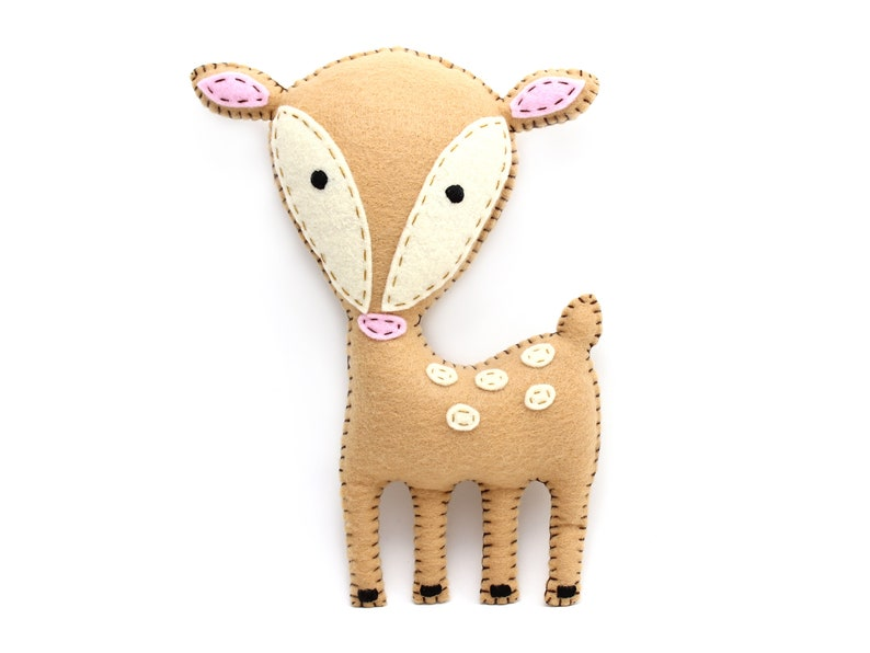 Deer Sewing Pattern Felt Stuffed Deer Hand Sewing Plushie image 0