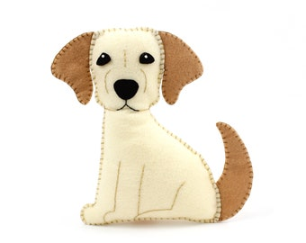 Golden Lab Sewing Pattern, Dog Hand Sewing Pattern, Felt Labrador Retriever Dog Sewing Pattern, Yellow Lab, Instant Download PDF SVG DXF