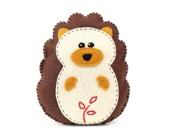 Hedgehog Sewing Pattern, How to Sew Felt Hedgehog Plush Softie, Stuffed Hedgie Sewing Pattern, Woodland Hedgehog, Instant Download PDF