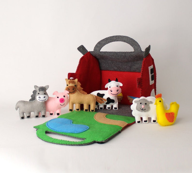 Toy Farm Sewing Pattern Felt Barn & Farm Animals Hand Sewing image 0