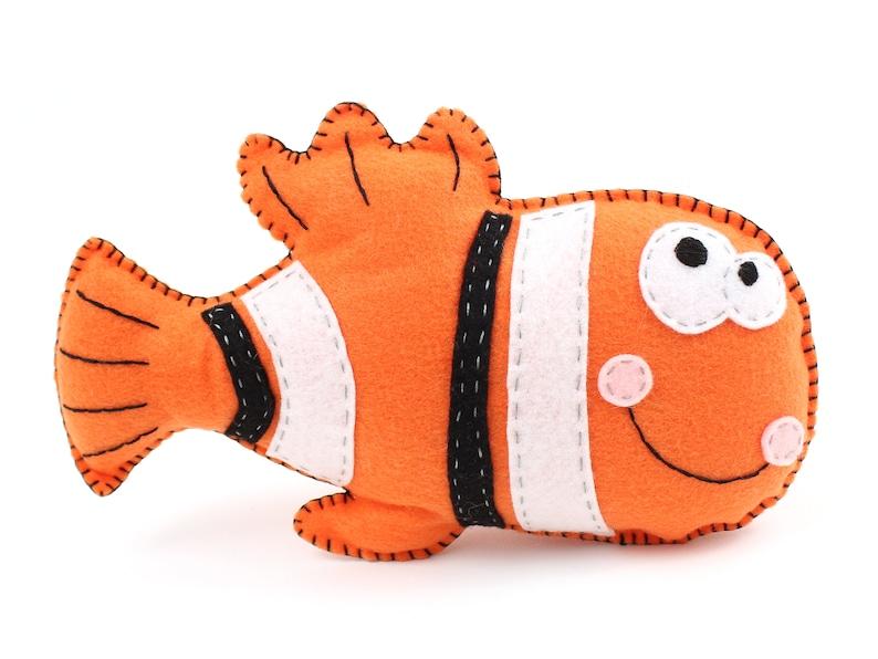 Fish Sewing Pattern Clown Fish Hand Sewing Felt Clown Fish image 0