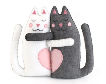 Cat Sewing Patterns, Hugging Kitty Cats Hand Sewing Felt Instructions, Easy Pattern, Instant Download PDF SVG DFX