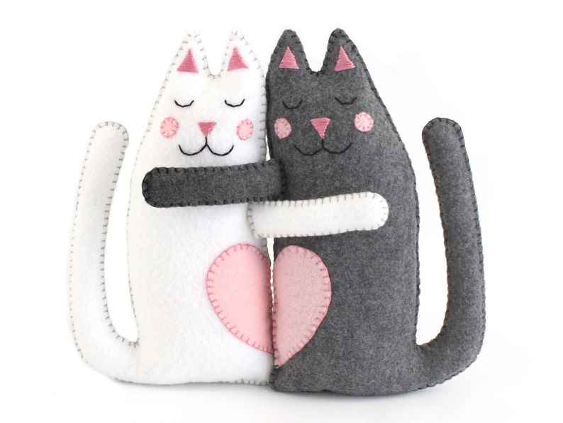 Cat Sewing Patterns Hugging Kitty Cats Hand Sewing Felt image 0
