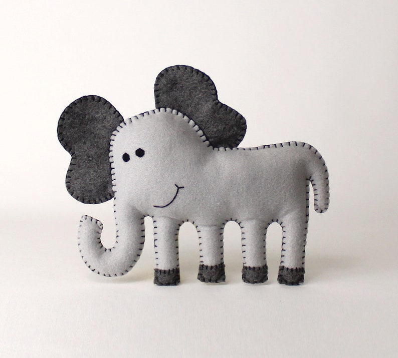 Elephant Sewing Pattern Sew a Felt Elephant by Hand DIY image 0