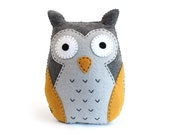 Felt Owl Sewing Pattern, Stuffed Owl Plushie Hand Sewing Pattern, Embroidered Owl Softie, Simple Sewing Pattern for Owl, PDF SVG DXF