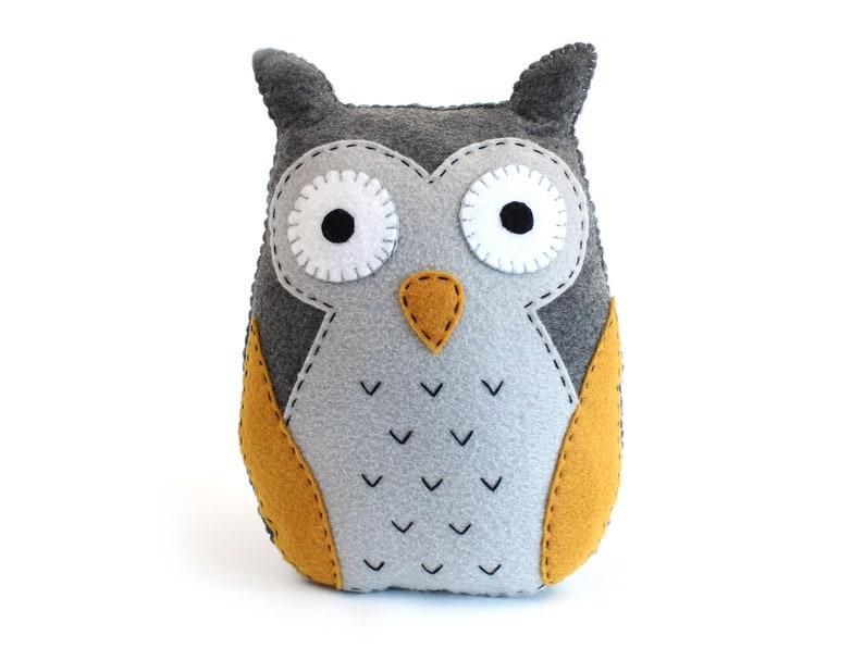 Felt Owl Sewing Pattern Stuffed Owl Plushie Hand Sewing image 0