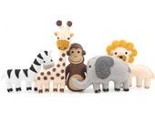 Jungle Animal Sewing Patterns, Zoo Animal Hand Sewing, Safari Animal Felt, Giraffe Elephant Monkey Zebra Lion, Gift for Tots, PDF SVG DXF