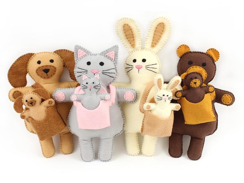Mums and Babies Stuffed Animal Sewing Patterns Felt Hand image 0