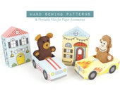 Little Monkey and Bear Sewing Pattern, Felt Hand Sewing Pattern With Printable Car and House, Gift for Tots, PDF SVG PNG