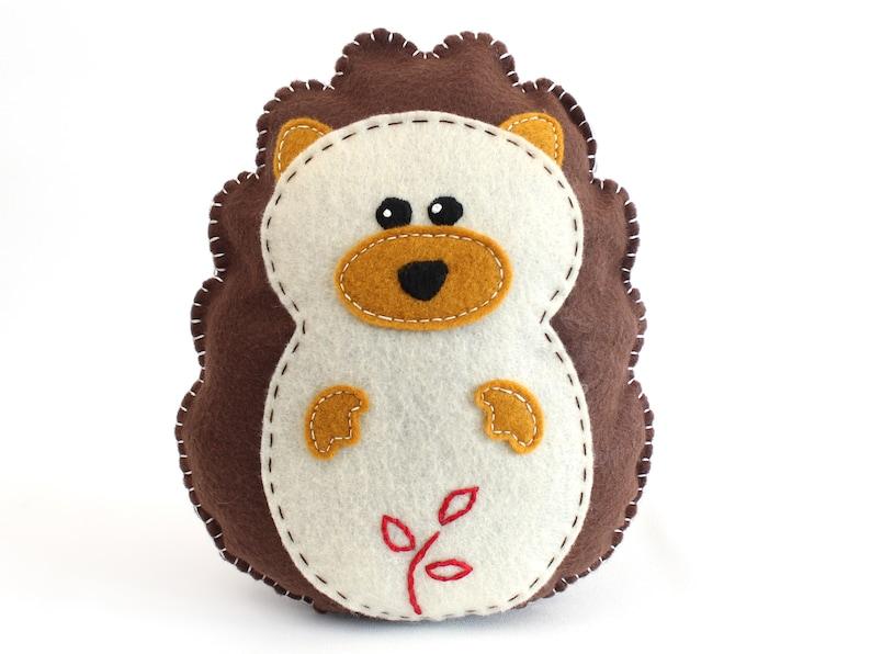Hedgehog Sewing Pattern How to Sew Felt Hedgehog Plush image 0