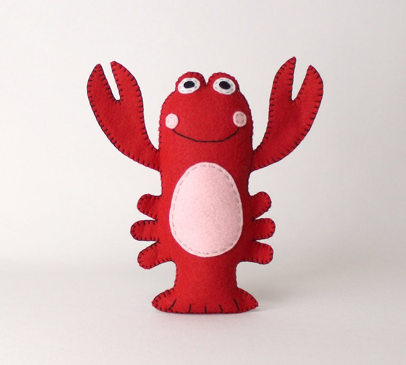 Lobster Sewing Pattern Stuffed Red Lobster Pattern Plush image 0