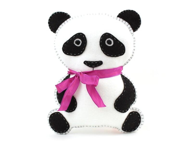 Panda Pattern Felt Panda Bear Sewing Pattern Panda Stuffed image 0