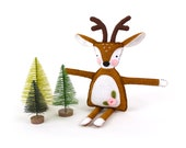 Deer Sewing Pattern, Felt Reindeer Plush Hand Sewing Instructions in Instant Download PDF SVG DXF