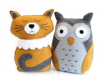 Felt Animal Sewing Patterns, The Owl and the Pussycat, Cat Hand Sewing Pattern, Felt Owl Plushie DIY, Easy Sewing Patterns Soft Toys PDF SVG