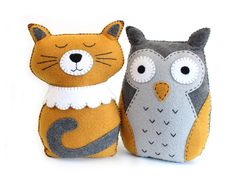 Felt Animal Sewing Patterns The Owl and the Pussycat Cat image 0