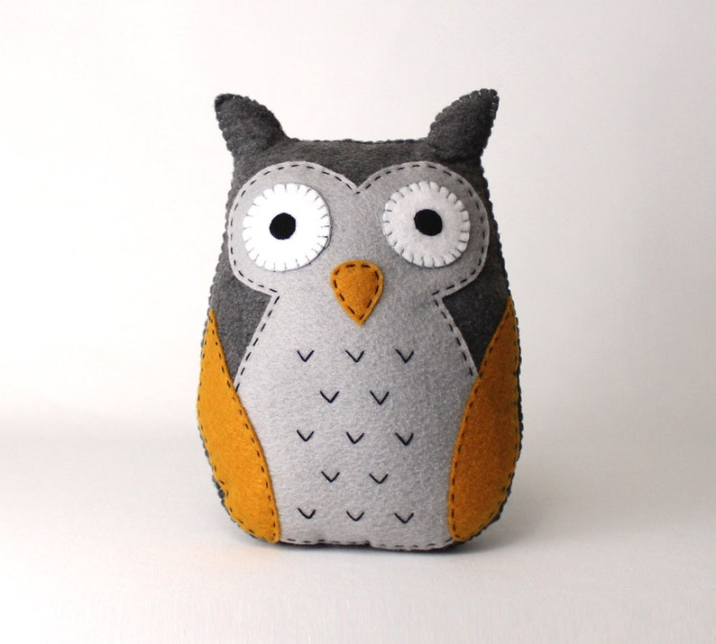 Felt Owl Sewing Pattern Stuffed Owl Plushie Hand Sewing Etsy