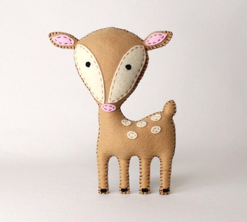 Deer Sewing Pattern Felt Stuffed Deer Hand Sewing Plushie image 0