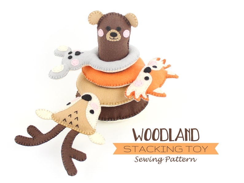 Stacking Toy for Toddlers Forest Animal Sewing Pattern Baby image 0