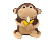 Felt Monkey Sewing Pattern, Hand Sewing Plush Monkey Softie, Stuffed Plush Monkey Banana Stuffie Pattern, Instant Download PDF SVG DXF