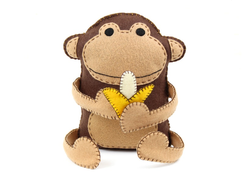 Felt Monkey Sewing Pattern Hand Sewing Plush Monkey Softie image 0