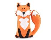 Felt Fox Pattern, Stuffed Fox Hand Sewing Plushie Pattern, Woodland Fox Softie Sewing Pattern, Instant Download PDF, Sew a Felt Fox PDF SVG