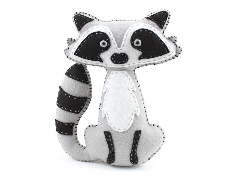 Raccoon Stuffed Animal Sewing Pattern Felt Hand Sewing image 0