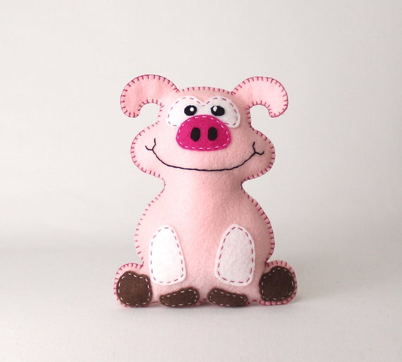 Pig Sewing Pattern, Felt Pig Sewing Pattern, Sew a Stuffed Animal ...