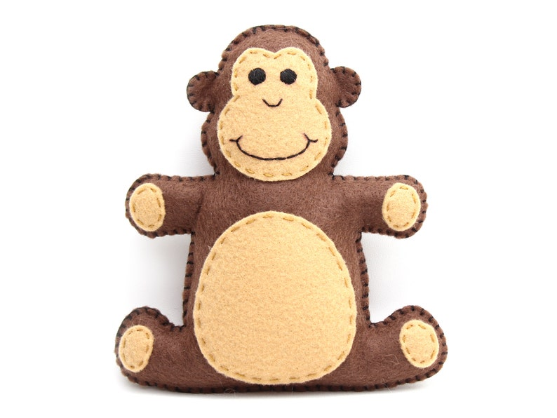 Monkey Sewing Pattern Stuffed Felt Monkey Hand Sewing image 0