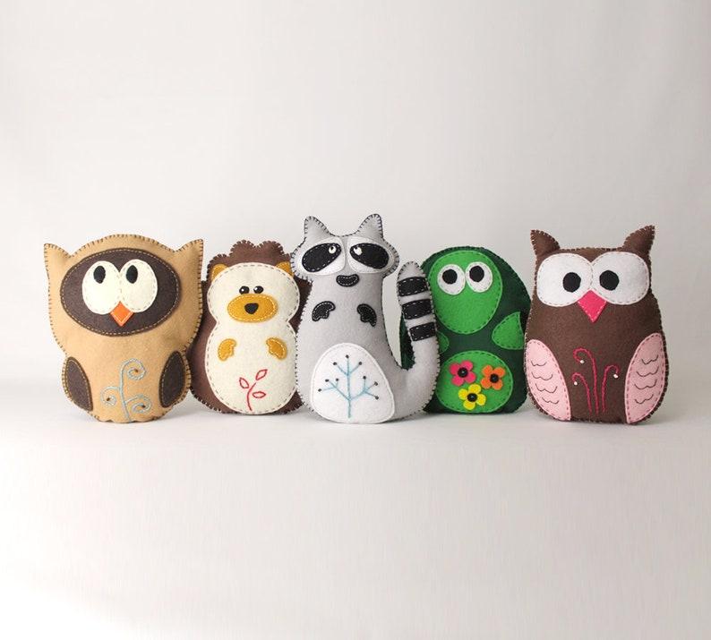 Woodland Stuffed Animal Sewing Patterns Felt Owl Plush image 0