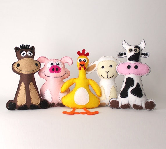 Farm Animal Sewing Patterns Felt Stuffed Barnyard Animal Etsy