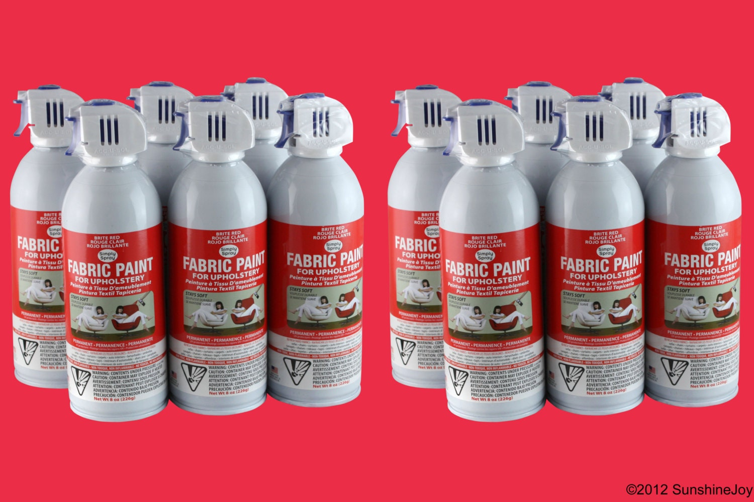 Simply Spray Upholstery Fabric Spray Paint - Dries Soft, Permanent - RED -  12 PACK