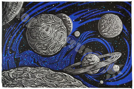 Glow In The Dark Galactic Outer Space Tapestry Planetary Etsy