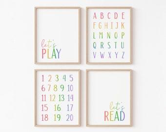 Playroom Prints, Let's Play Print, Let's Read Print, Kids Room Decor, Playroom Decor, Homeschool Decor, Playroom Wall Art, ABC Print