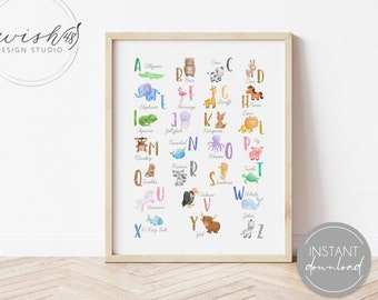 Animal Alphabet Print, Alphabet Print, Animal Nursery, ABC Poster, Kids Room Decor, Playroom Decor, Homeschool Decor, Playroom Wall Art